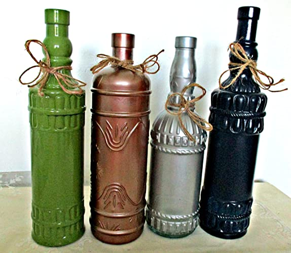 Amazon.com: Vintage Bottles, Upcycled, Painted Glass ...
