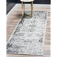 Unique Loom Sofia Collection Traditional Vintage Gray Runner Rug (2' x 13')