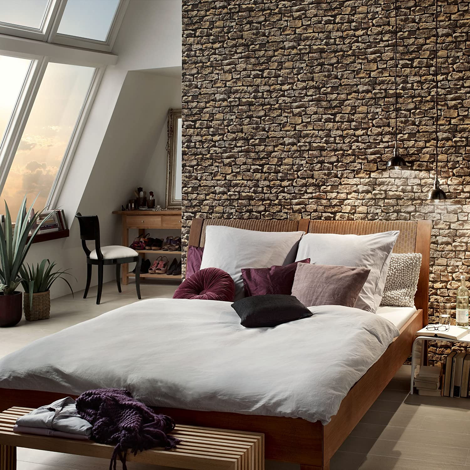 A S Creation 9079 12 Wood and Stone Natural Wallpaper Amazon