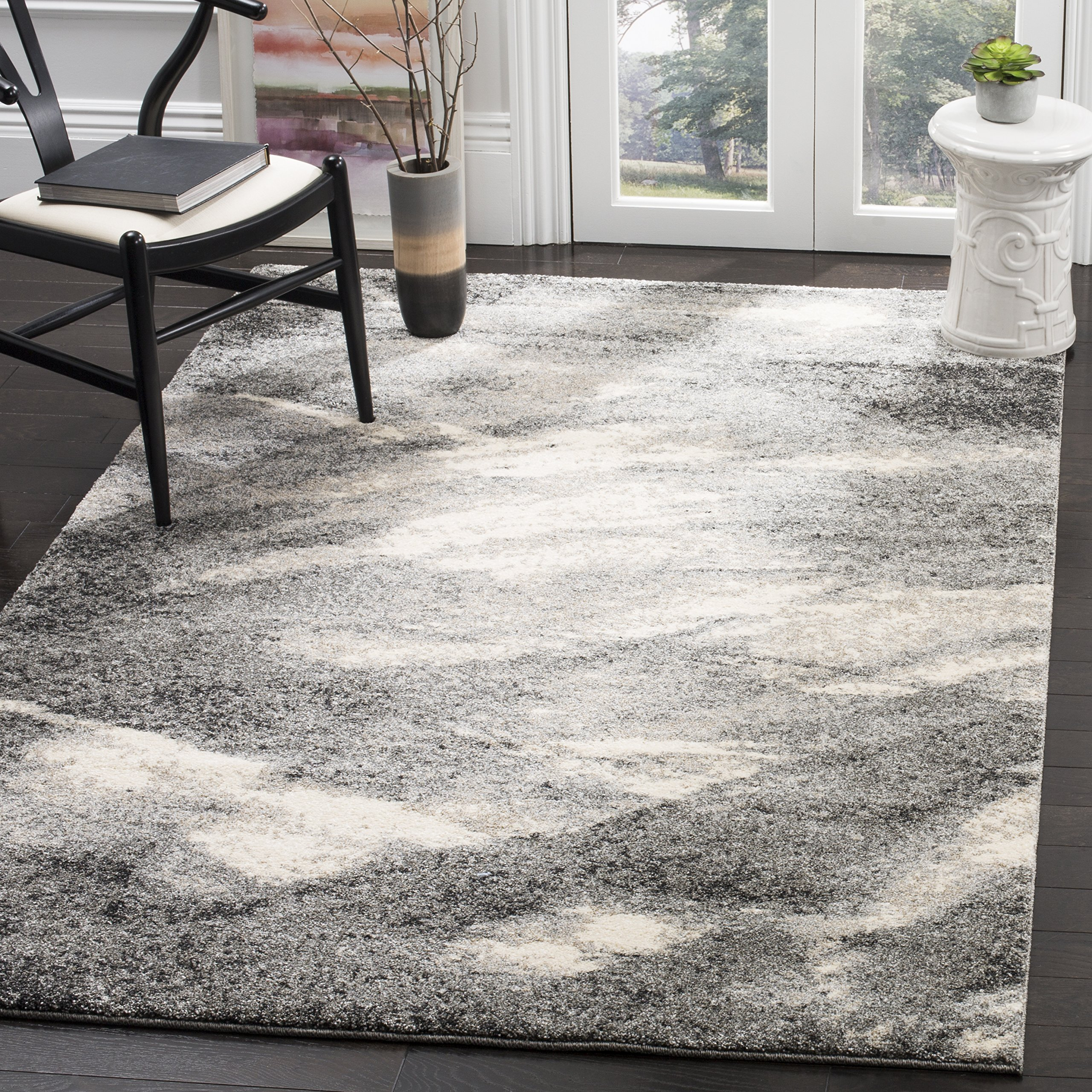 Safavieh Retro Collection RET2891-8012 Modern Abstract Grey and Ivory Area Rug (4' x 6')