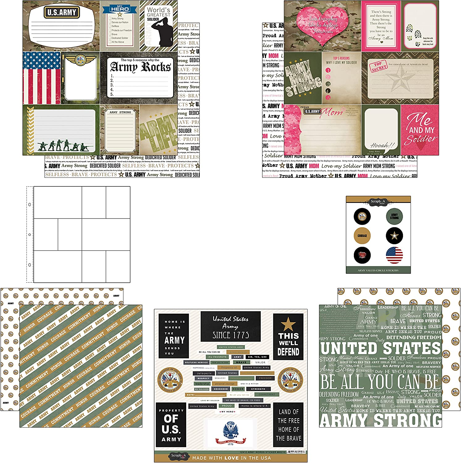 Marine Mom Journal Scrapbook Customs Themed Paper and Stickers Scrapbook Kit