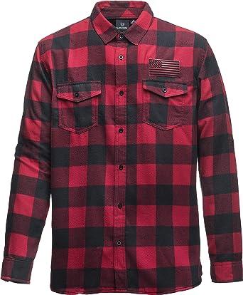 Camisa de Franela a Cuadros: Stars and Stripes con Bordado - Bandera USA - Regalo Hombre-s y Mujer-es - Camisa Leñador Retro Trabajo Casual Lumberjack ...