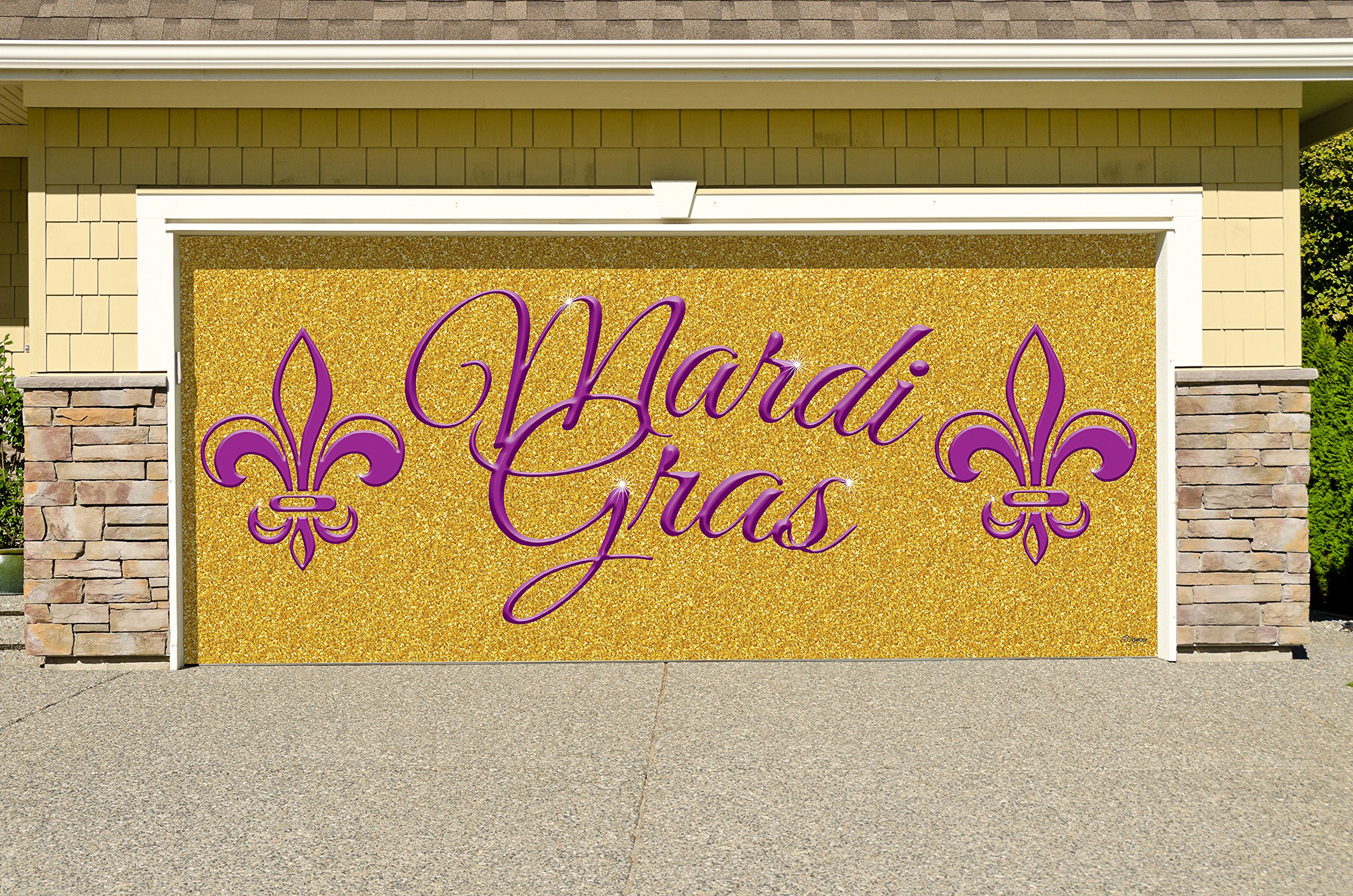 Outdoor Mardi Gras Decorations Garage Door Banner Cover Mural Décoration 7'x16' - Mardi Gras Gold Glitter- ''The Original Mardi Gras Supplies Holiday Garage Door Banner Decor''