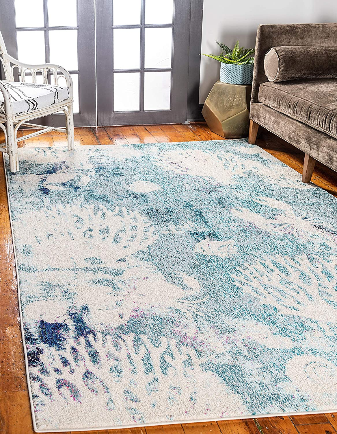 Unique Loom Positano Collection Coastal Modern Coral Lobster Shells Rug_CAP003, 8' 0 x 10' 0, Light Blue/Beige