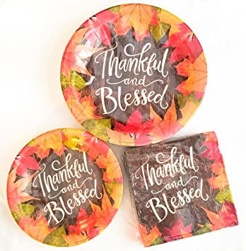 Thanksgiving Harvest or Fall Party Dinnerware Bundle Thankful and Blessed - Disposable Paper Plates  sc 1 st  Amazon.com : fall paper plates - pezcame.com