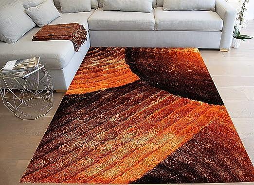 Contemporary Tan Geometric Orange Rectangles Plush Rug Set 8x10 5x7