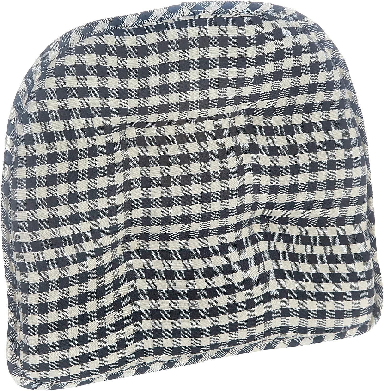 Set of 4 Klear Vu Gingham Tufted No Slip Dining Chair Pad Cushion Black
