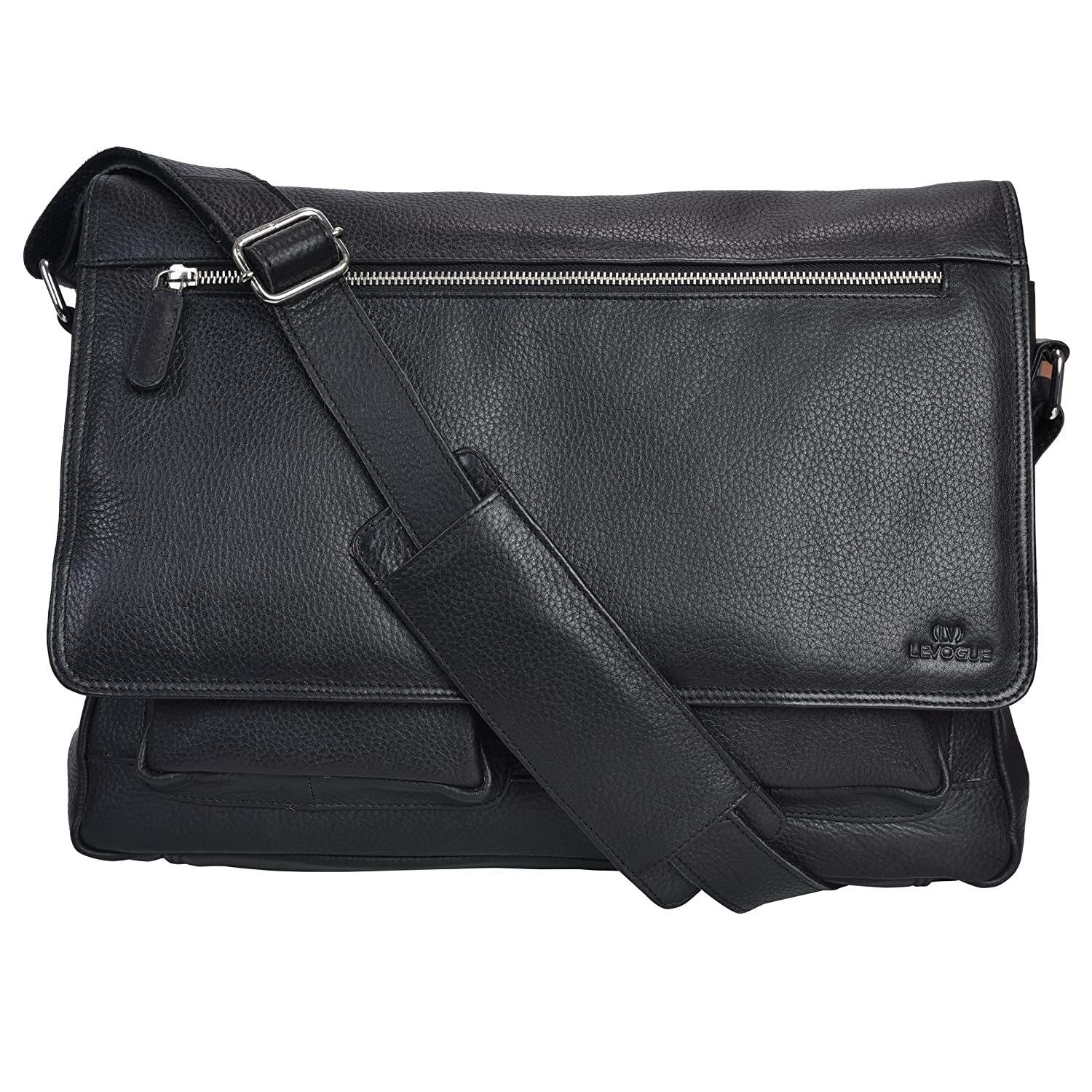 d21cb954c503 Genuine Leather Messenger Bag for Men and Women - 14 inch Laptop ...