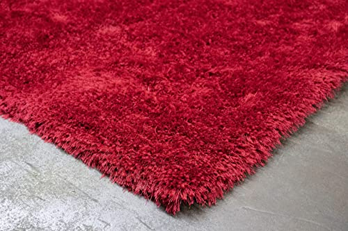 8 x10 Feet Solid Light Red Dark Red Colors Plush Shag Shaggy Shimmer Fluffy Fuzzy Furry Area Rug Carpet Rug Indoor Bedroom Living Room Decorative Designer Modern Contemporary Canvas Backing