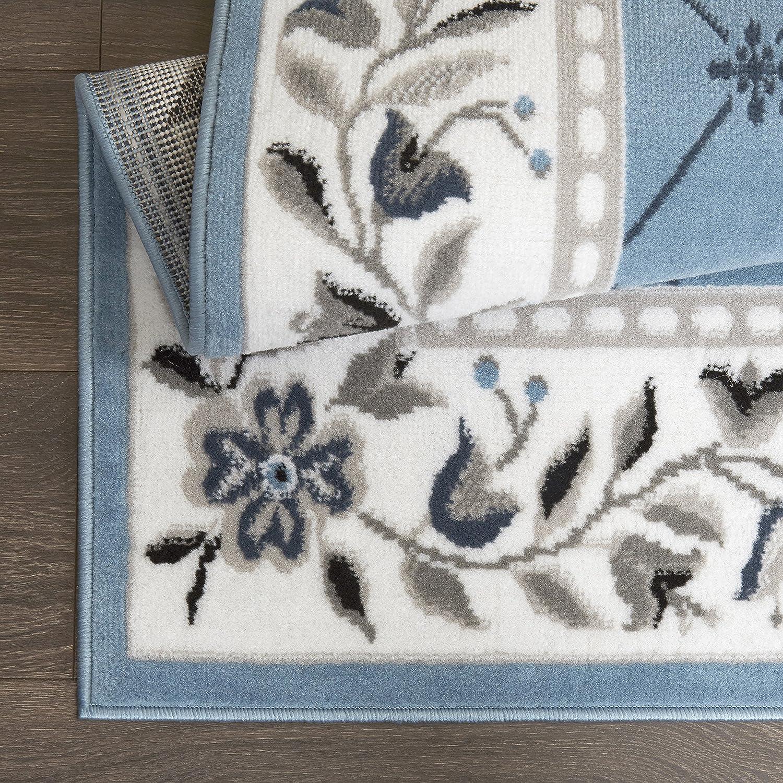Floral Border Blue//Ivory Home Dynamix Lyndhurst Sheraton Area Rug 21x35