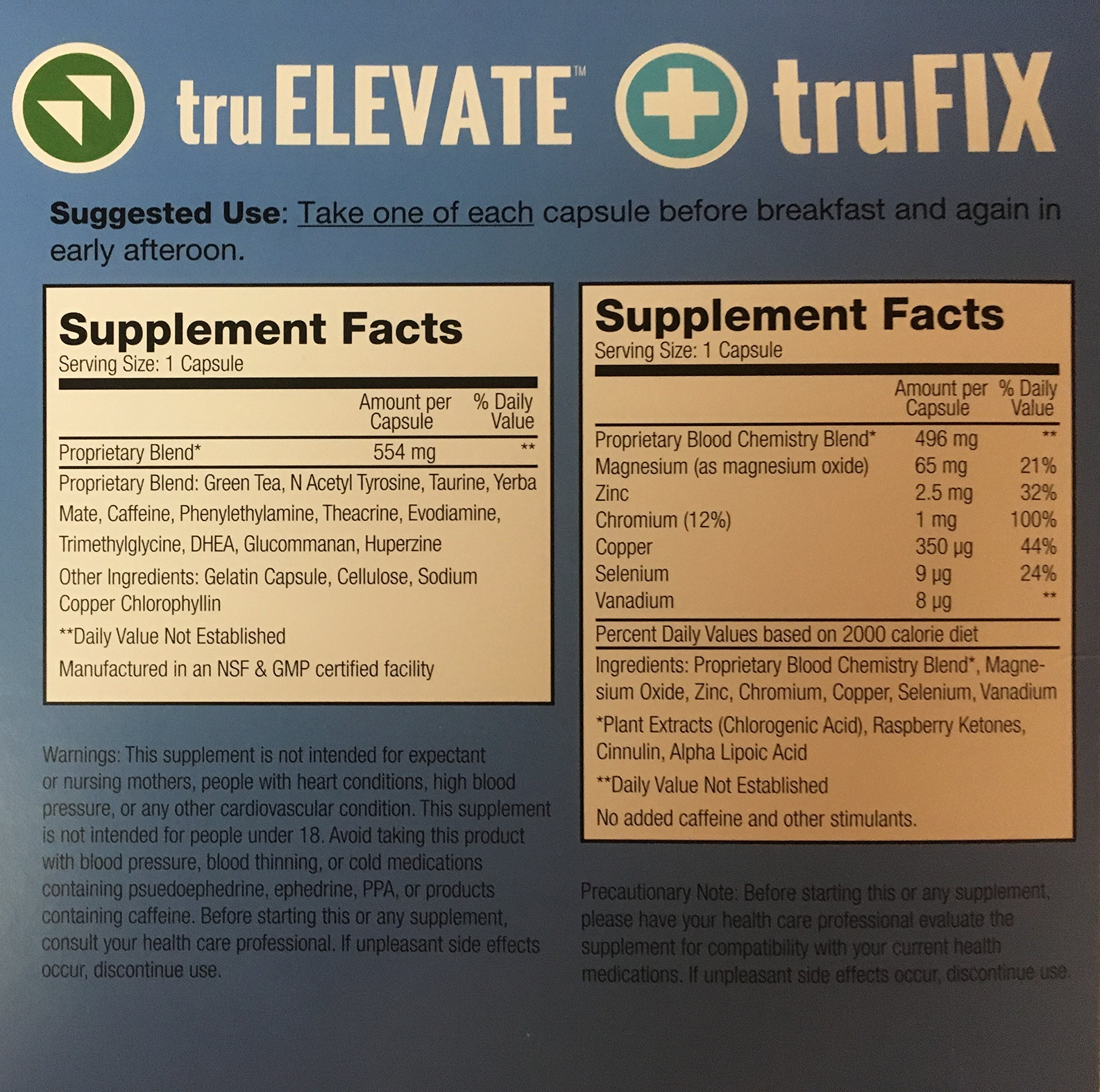TRUVISION HEALTH - TRUFIX & TRUELEVATE- 30 DAY SUPPLY - (120) CAPSULES - REPLACES WEIGHT & ENERGY WITH FORMULA For More Energy by TruVision