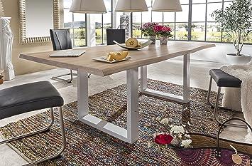Toll Esstisch Wildeiche Massivholztisch Tisch Baumkante Eiche Esszimmer Neu  200x100 Bianco Geölt