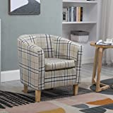 WestWood Linen Fabric Tub Chair Armchair Dining Living Room Lounge Office Modern Furniture Cream Checked TC03
