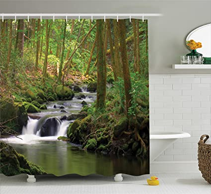 Amazing Ambesonne Lake House Decor Shower Curtain Set, Stream Flowing In The Forest  Over Mossy Rocks