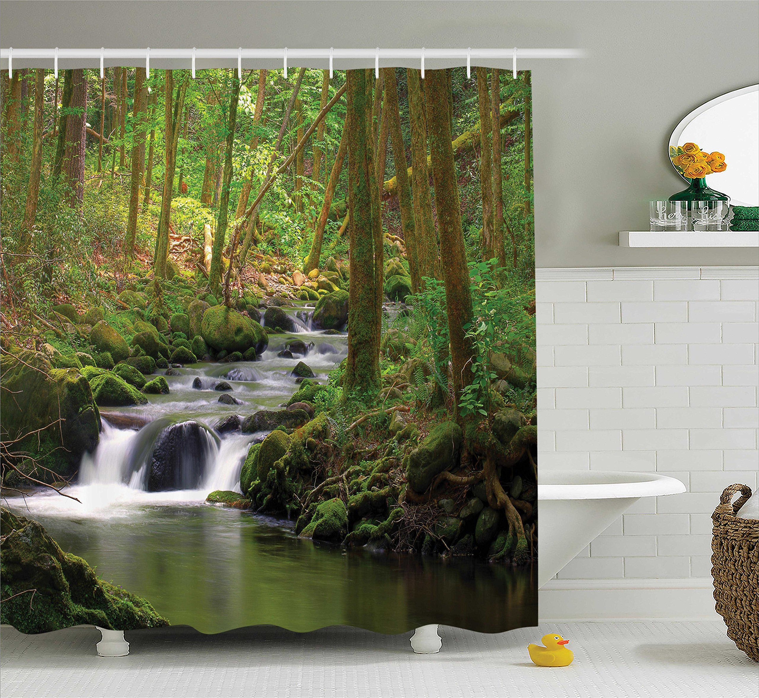 Ambesonne Nature Shower Curtain Green Decor, Waterfall and Stream Flowing in The Forest Over Mossy Rocks Tree Foliage Splash Hiking, Bathroom Accessories, with Hooks, 69W X 70L inches, Green Brown