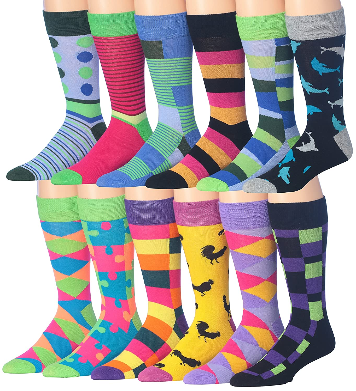 Colorfut Men's 12 Pairs Soft Cotton Blend Colorful Funky Gift Box Dress Socks Fits shoe 6-12 (sock size 10-13) CMC01