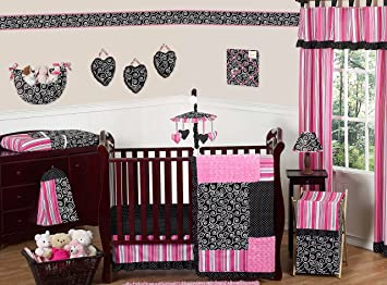 edf4adc0e3efa Amazon.com   Sweet Jojo Designs Hot Pink and Black Madison Boutique Baby  Girl Bedding 11pc Crib Set Without Bumper   Baby