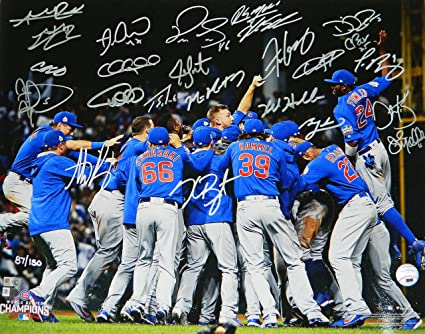 hot sale online 5fce0 48e18 2016 Chicago Cubs Team Signed Chicago Cubs 2016 World Series ...