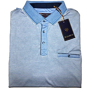 e5a867c2 Konko/Wellbred Casual Short Sleeve Tipped Polo Shirts for Men (Beach  Blue/White