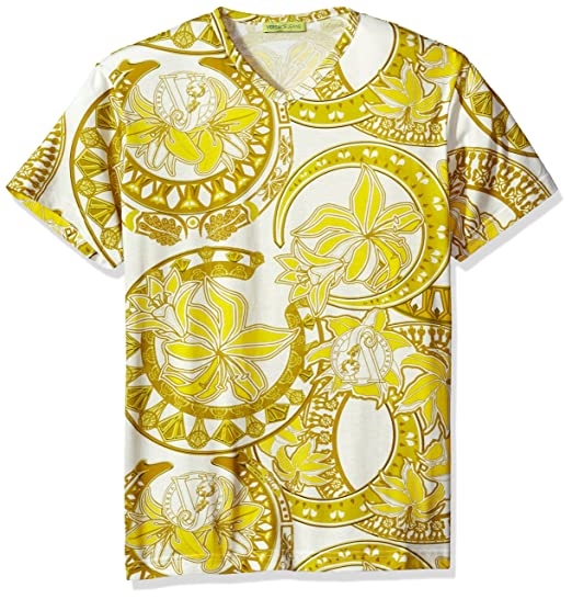 ee002057d003 Amazon.com  Versace Jeans Men s Gold Printed T-Shirt, Bianco, Small ...