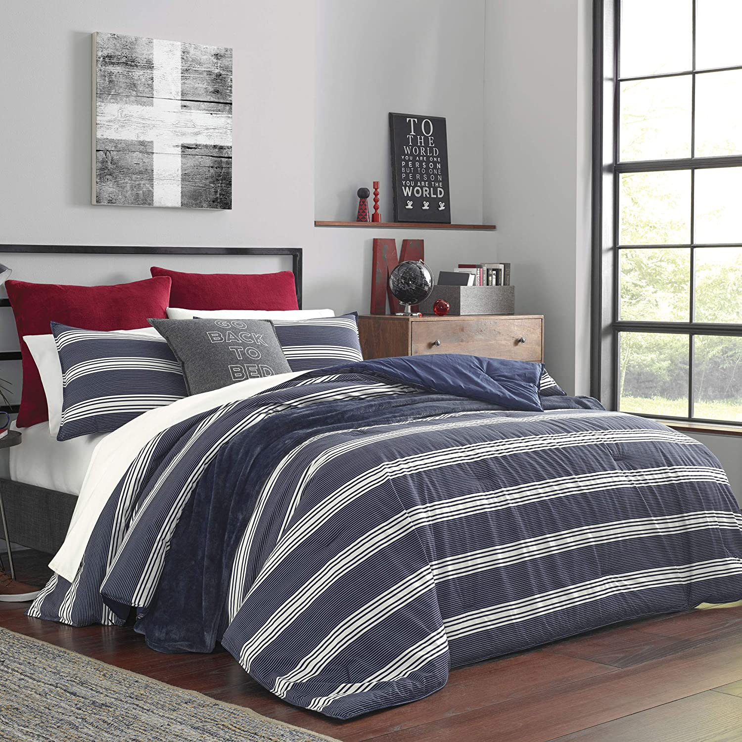 Nautica Craver Comforter Set, Queen, Navy