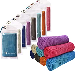 """Hystrada 8 Pack Cooling Towels 40"""" x 12""""-Cooling Scarf, Cold snap Cooling Towel for Instant Cooling Relief for All Physical Activities: Golf, Fitness, Camping, Hiking, Yoga, Pilates"""