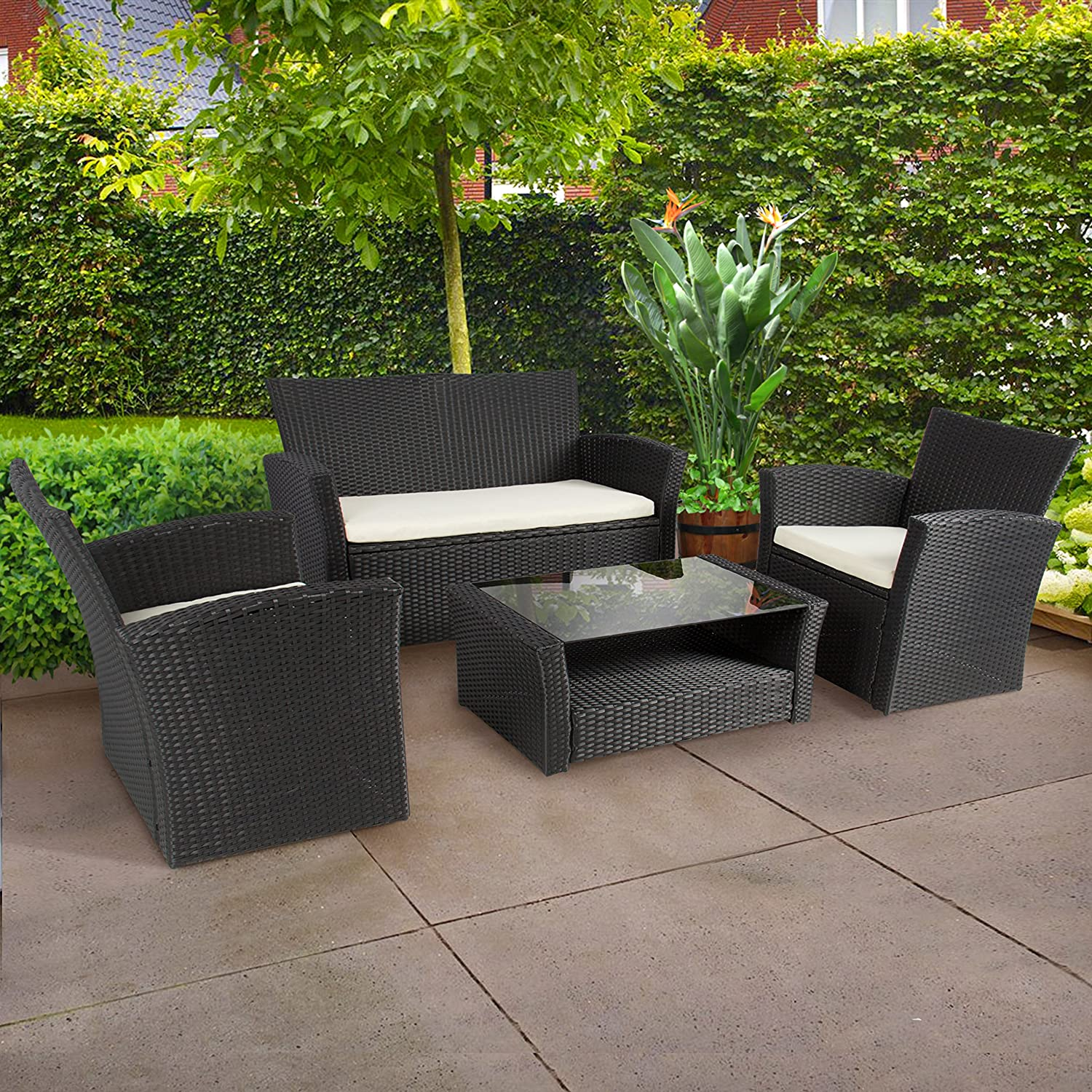 amazoncom best choice products 4pc outdoor patio garden furniture wicker rattan sofa set black garden outdoor
