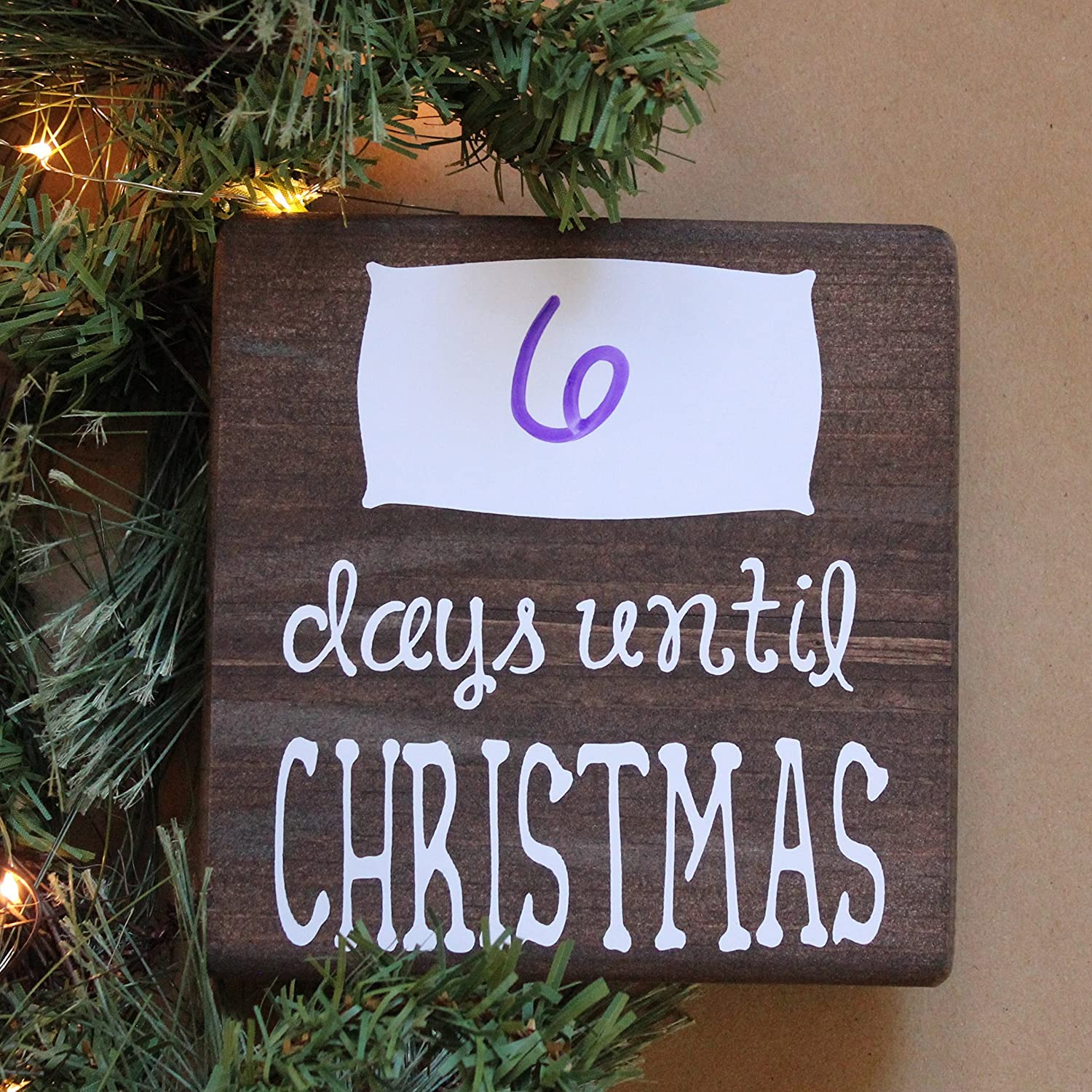 Amazon.com: Dry Erase Days until Christmas Small Rustic Wooden Sign ...