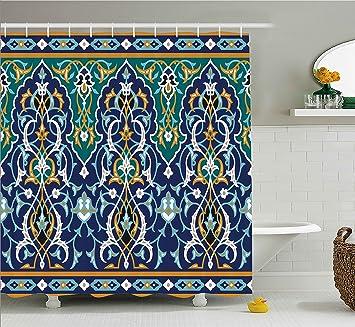 Marocain Rideau De Douche Par Ambesonne Ethnique A Motif Oriental Figure Petales Hippie Vintage Tribal Mosaique Tissu Salle Bain