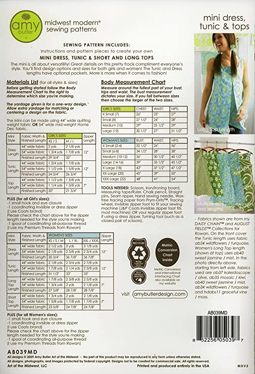 Amazon Amy Butler Mini Dress Tunic Tops Sewing Pattern