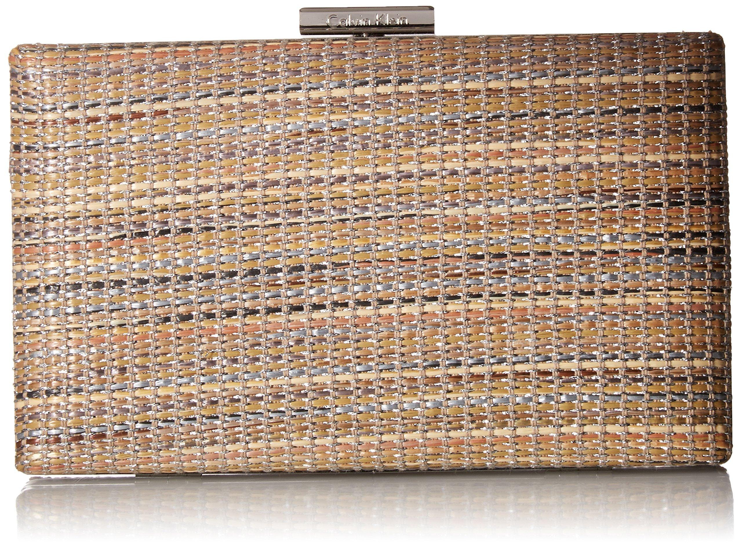 Calvin Klein womens Calvin Klein Novelty Woven Straw Box Clutch, natural straw, One Size