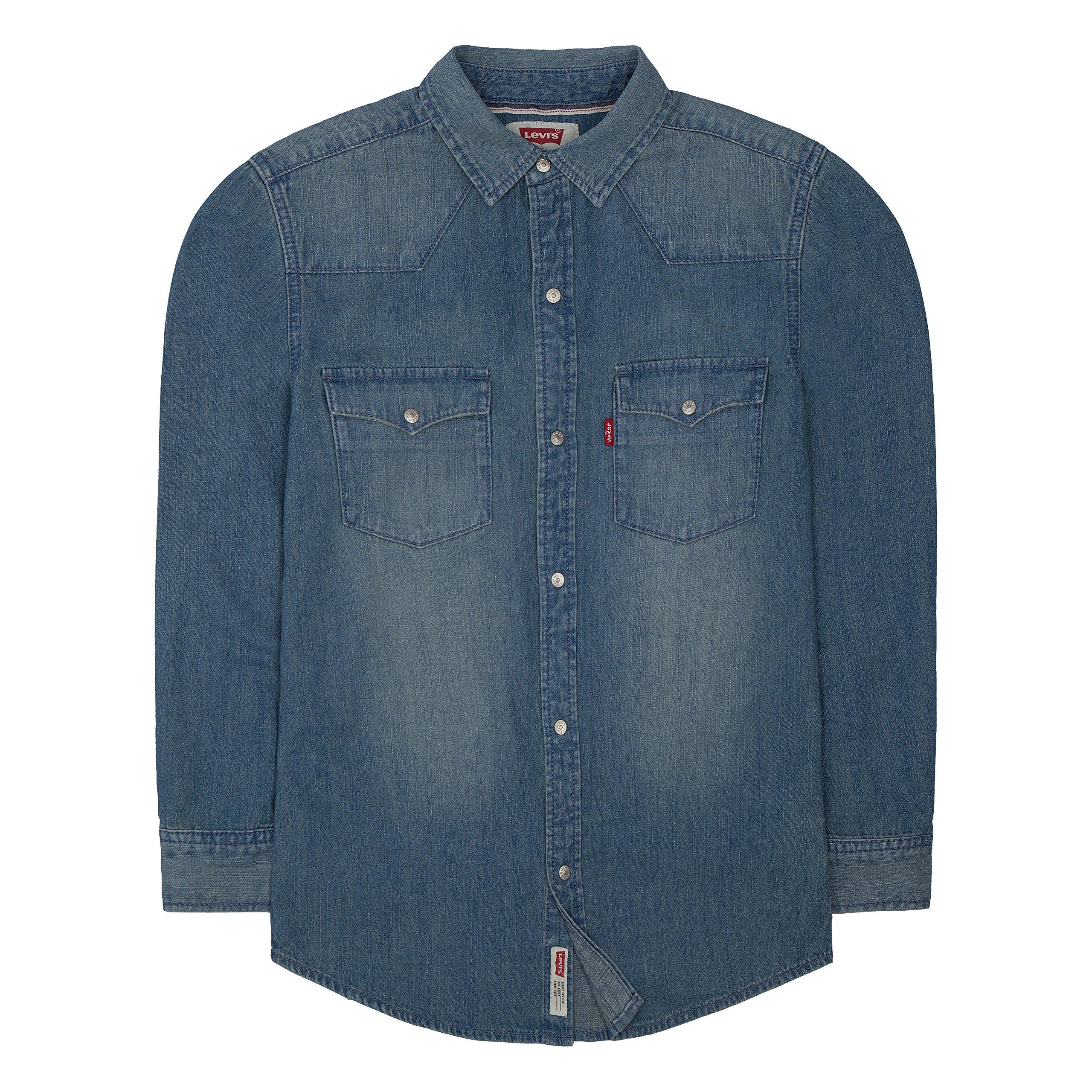 Levi's Boys' Big Denim Western Shirt, Vintage Stone, XL