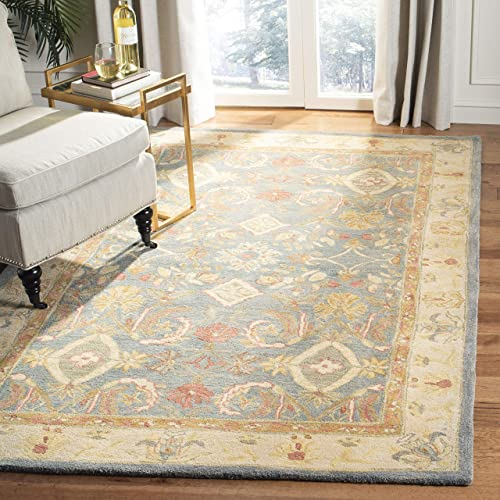 Safavieh Anatolia Collection AN544D Handmade Traditional Oriental Light Blue and Ivory Wool Area Rug 8 x 10
