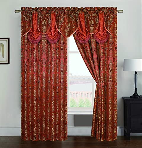 RT Designers Collection Gina Jacquard 54 x 84 in. Rod Pocket Curtain Panel w Attached 18 in. Valance, Orange