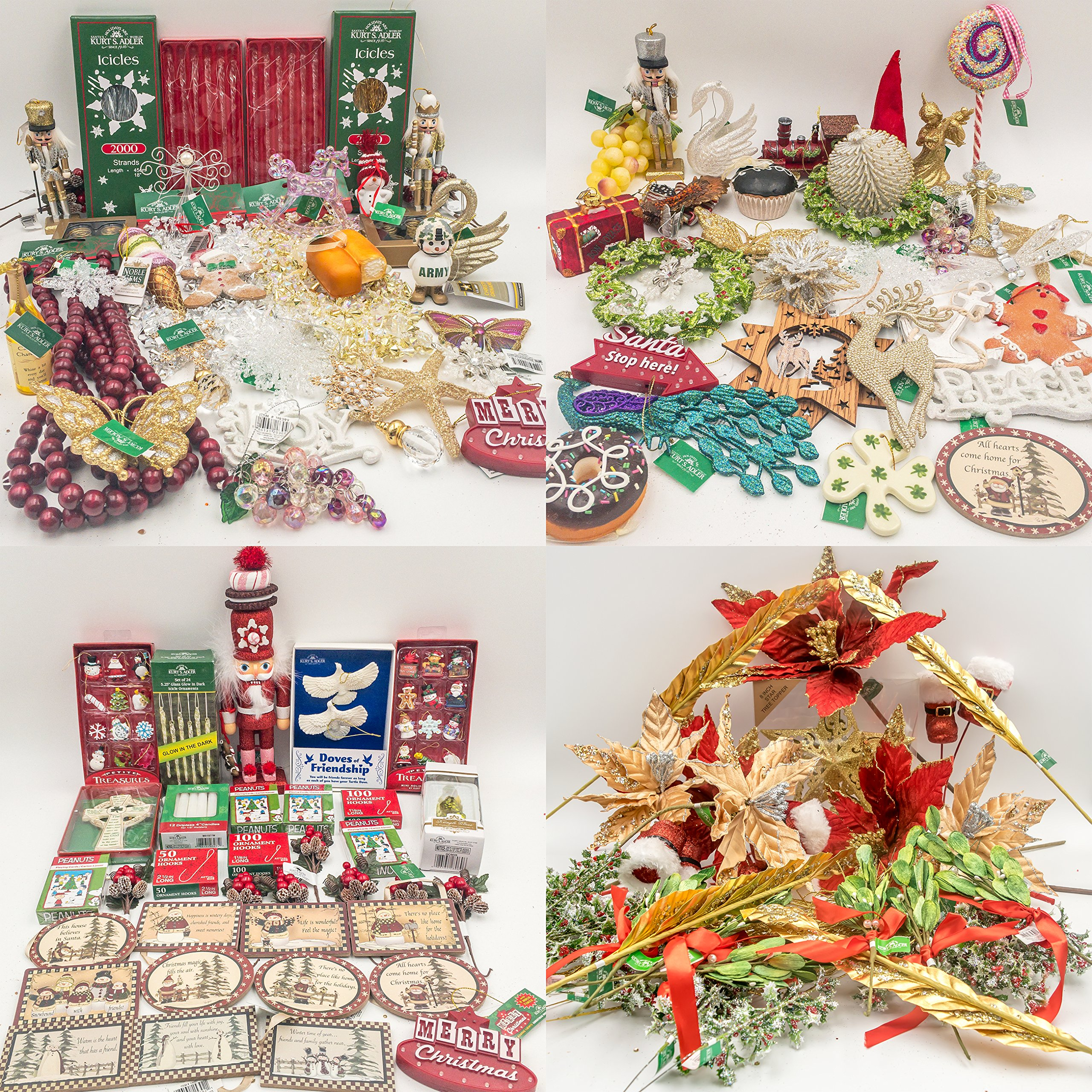 JZ Bundles Huge Set - Best of Christmas - Kurt Adler - 180-Piece Bundle - A Bundle of Christmas Ornaments Great Gift
