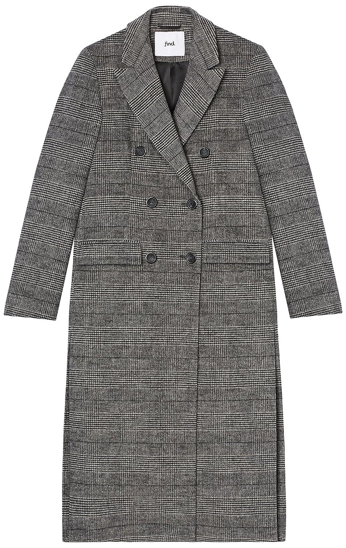 Marque Amazon - find. Manteau Croisé à Carreaux Femme Multicolore (Check)