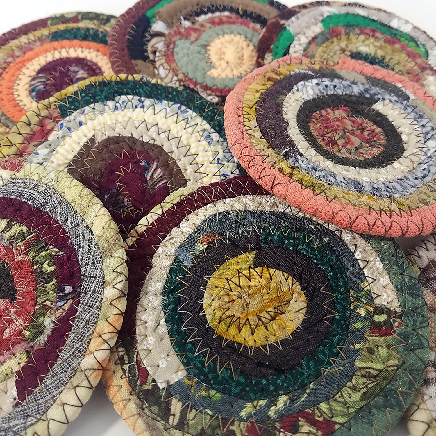 M2O Handmade Fabric Coasters Earth Tones, Colors Will Vary, Upcycled Set of 4 Cloth Bohemian Drinkware Coasters Made to Order