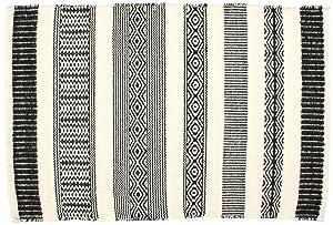 Creative carpets Tapis Ethnique en Laine Blanc et Noir Moderne 60 x 90 Noir/Blanc