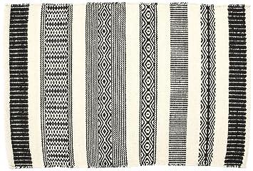 Creative carpets Tapis Ethnique en Laine Blanc et Noir Moderne 60 x 90 Noir  Blanc 18999e8a15d6