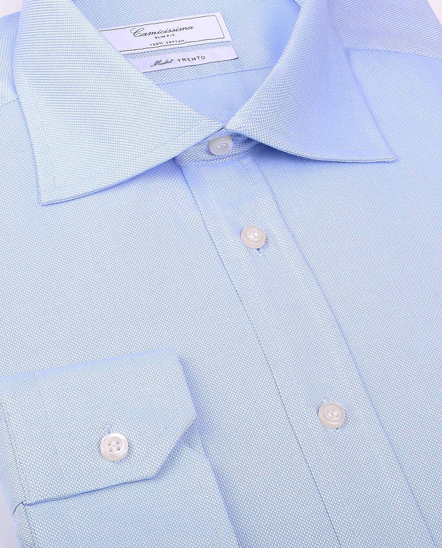 Manica Lunga Collo Semi Francese Camicia Trento Azzurra con Taschino Slim