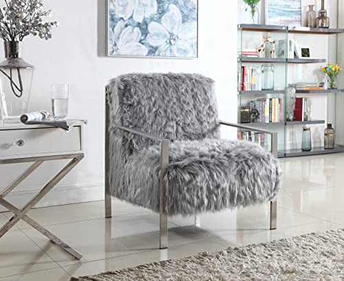 Iconic Home Bayla Accent Side Chair Sleek Stylish Faux Fur Brushed Nickel Finished Stainless Steel Frame