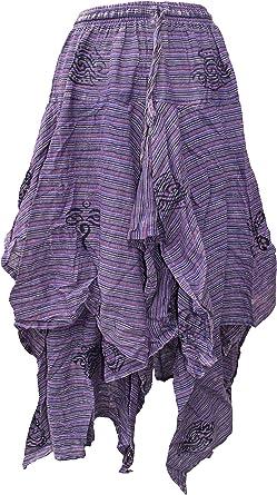 Little Kathmandu algodón 2 capas falda asimétrica larga con ...