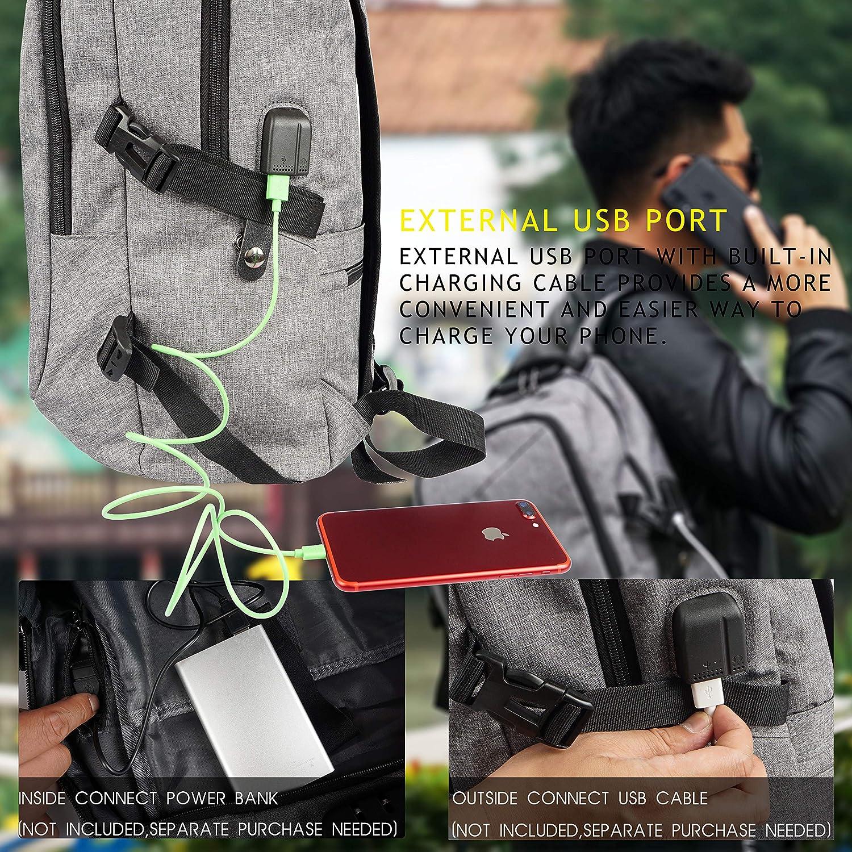 Ideal para Estudiantes// Negocios// Viajes Reflexivas Multiusos Daypacks con Puerto de Carga USB y Toma de Auriculares Mochila con la Red de Baloncesto WOTENCE Mochila Antirrobo para Port/átil