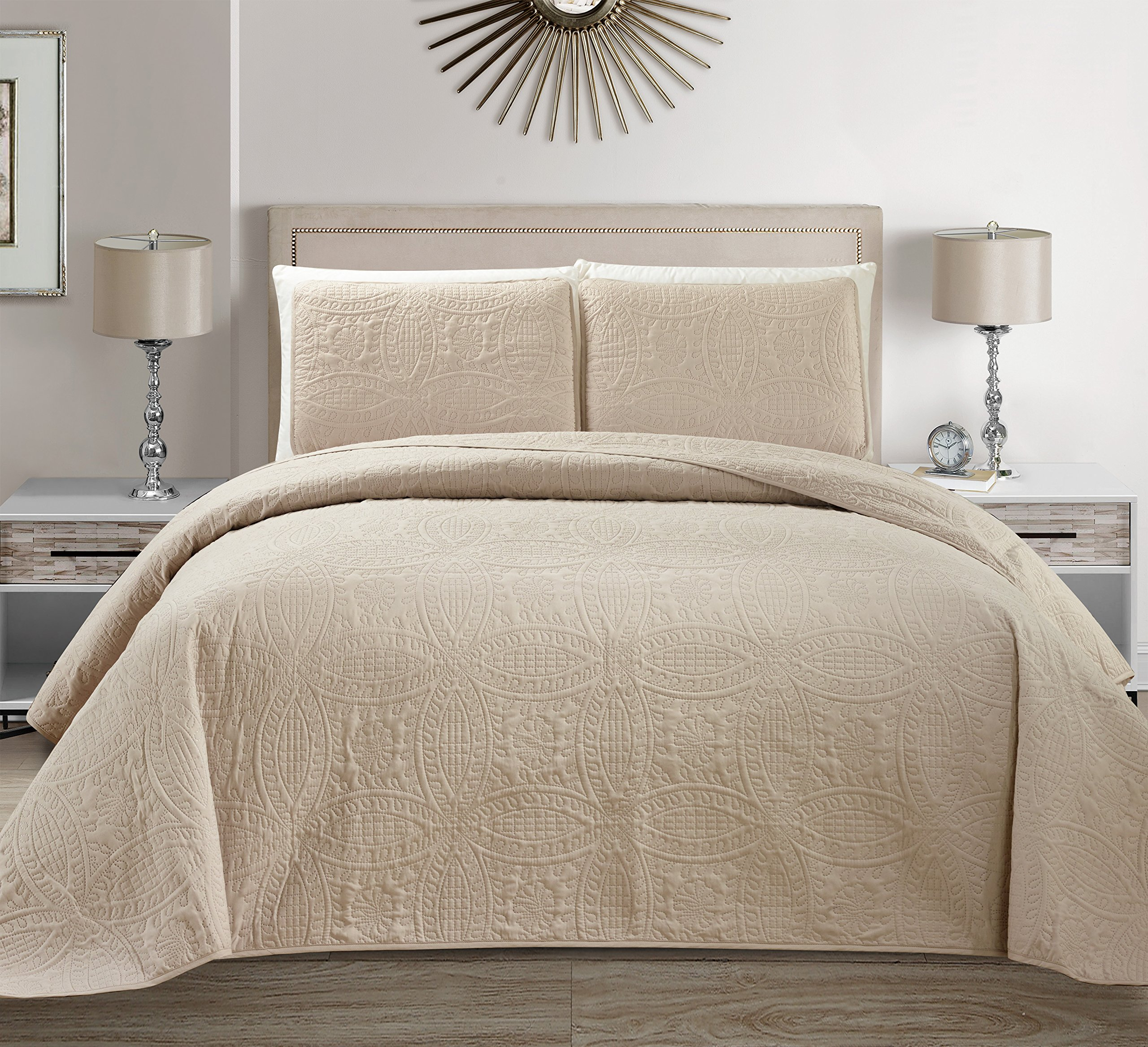 Mk Collection 3 pc Solid Embossed Bedspread Bed-cover Over Size Beige/Khaki New King/California King Over Size 118'' x106''