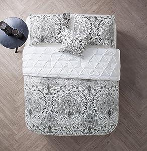 - MAI-3DV-QUEN-OV-WH - VCNY Home - Maison - 3-piece Reversible Pintucked Duvet Cover Set - White - Queen