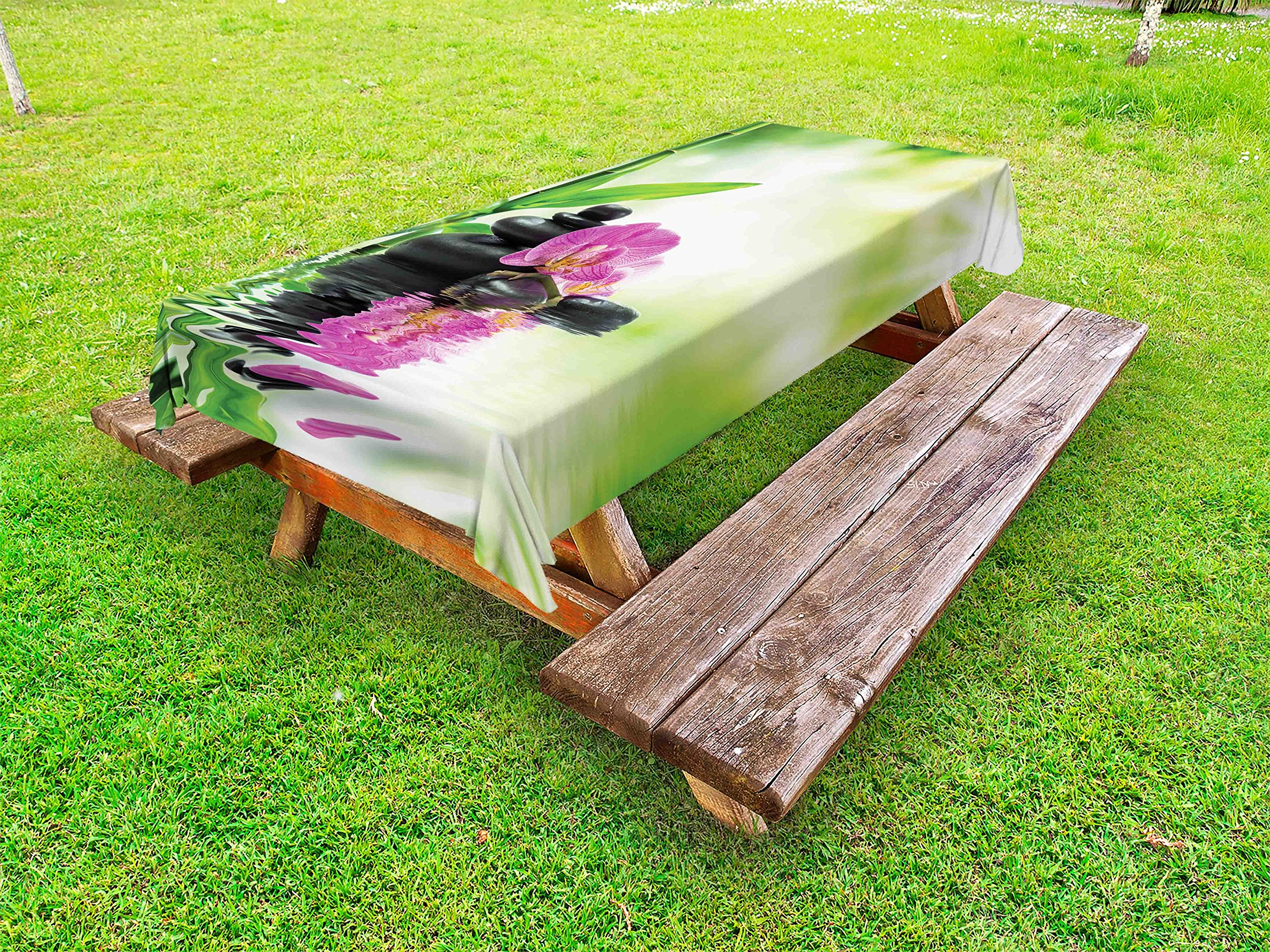 Ambesonne Spa Outdoor Tablecloth, Orchids and Rocks in The Mineral Rich Spring Water Spiritual Deep Treatment Cure, Decorative Washable Picnic Table Cloth, 58 X 120 inches, Green Black Pink