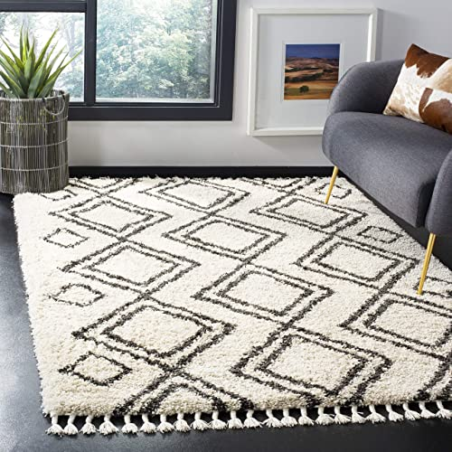 Safavieh Moroccan Fringe Shag Collection MFG247B Cream and Charcoal Grey Area Rug 8' x 10'