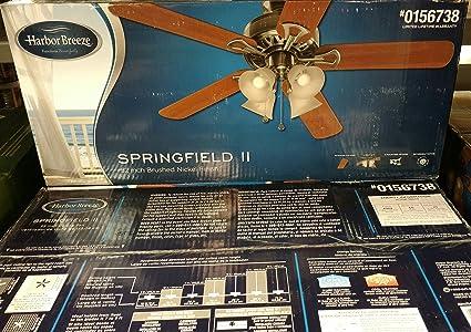 Harbor Breeze Springfield II 52-in Brushed Nickel Indoor Downrod Or on