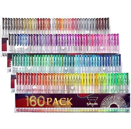 Gelmushta 160 Unique Colours Gel Pens Set No Duplicates For Adult Colouring Books Drawing
