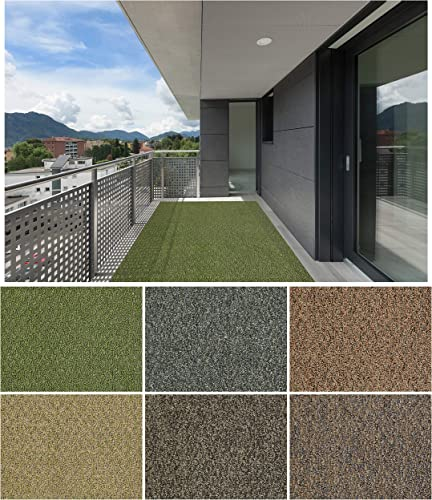 9 x12 Granite Dust Gardenscape Indoor Outdoor Area Rug Carpet, Runners with Many Sizes and Finished Edges.